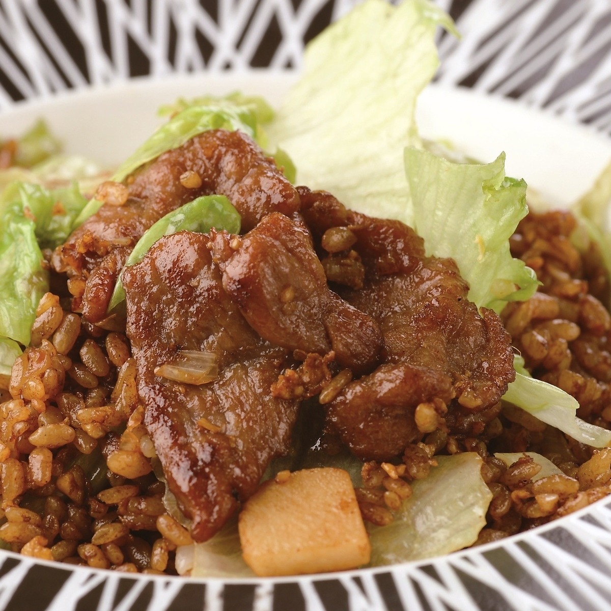 Beef lettuce fried rice