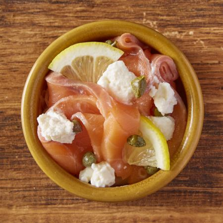 Smoked salmon and ricotta cheese