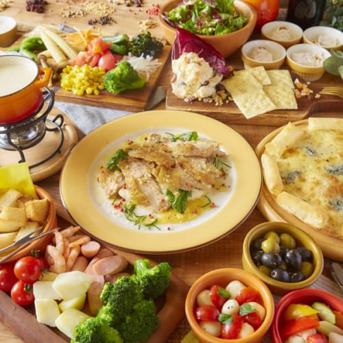 Main meat dish · Cheese fondue ★ Maximum 3 hours drink all you can drink «Lunch girls party course» 2280 yen
