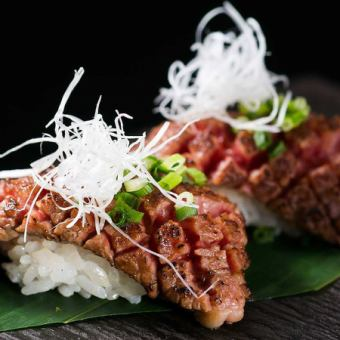 """【Luxury use!】 All-you-can-drink 3 hour dinner """"All-you-can-eat meat sushi course"""" 【7 items in total / 3980 yen → 3480 yen】"""