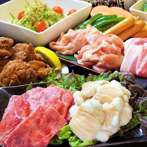 """All-you-can-eat Yakiniku 2 hours"" + 3 izakaya menu items ""All-you-can-drink 3 hours""!"