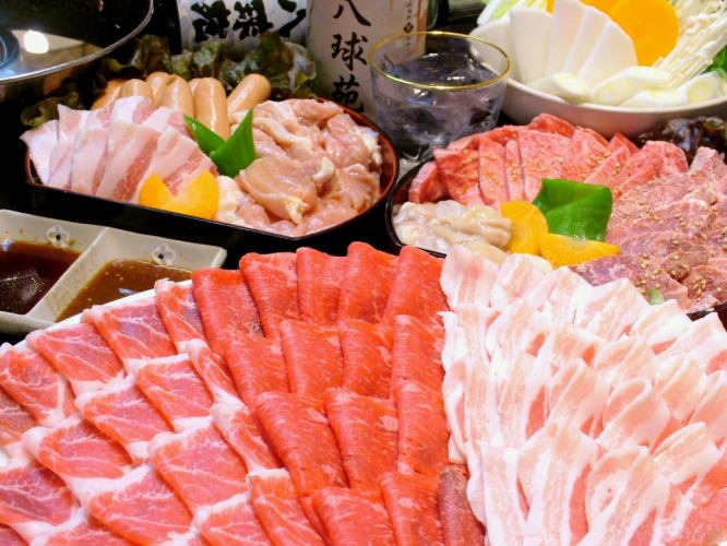 【More than 6 people】 All you can eat yakiniku and shabu-shabu All you can drink 2 hours Weekday 3500 yen / weekend 3800 yen (tax included)