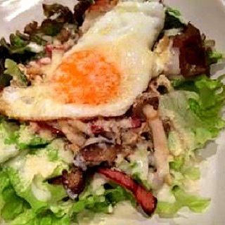 Mushroom and bacon salad ~ Eye balls accompanied ~
