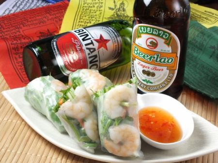 Shrimp and avocado raw spring roll