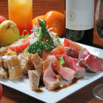 【For carnivorous girls】 Raw full drinking + plus meat plating plate plan 2980 yen (tax not included) ⇒ coupon on 120 minutes
