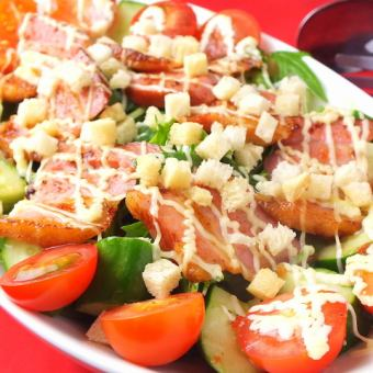Thickly sliced ​​bacon salad