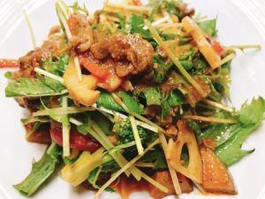 牛肉とシャッキリ野菜のトマトソース
