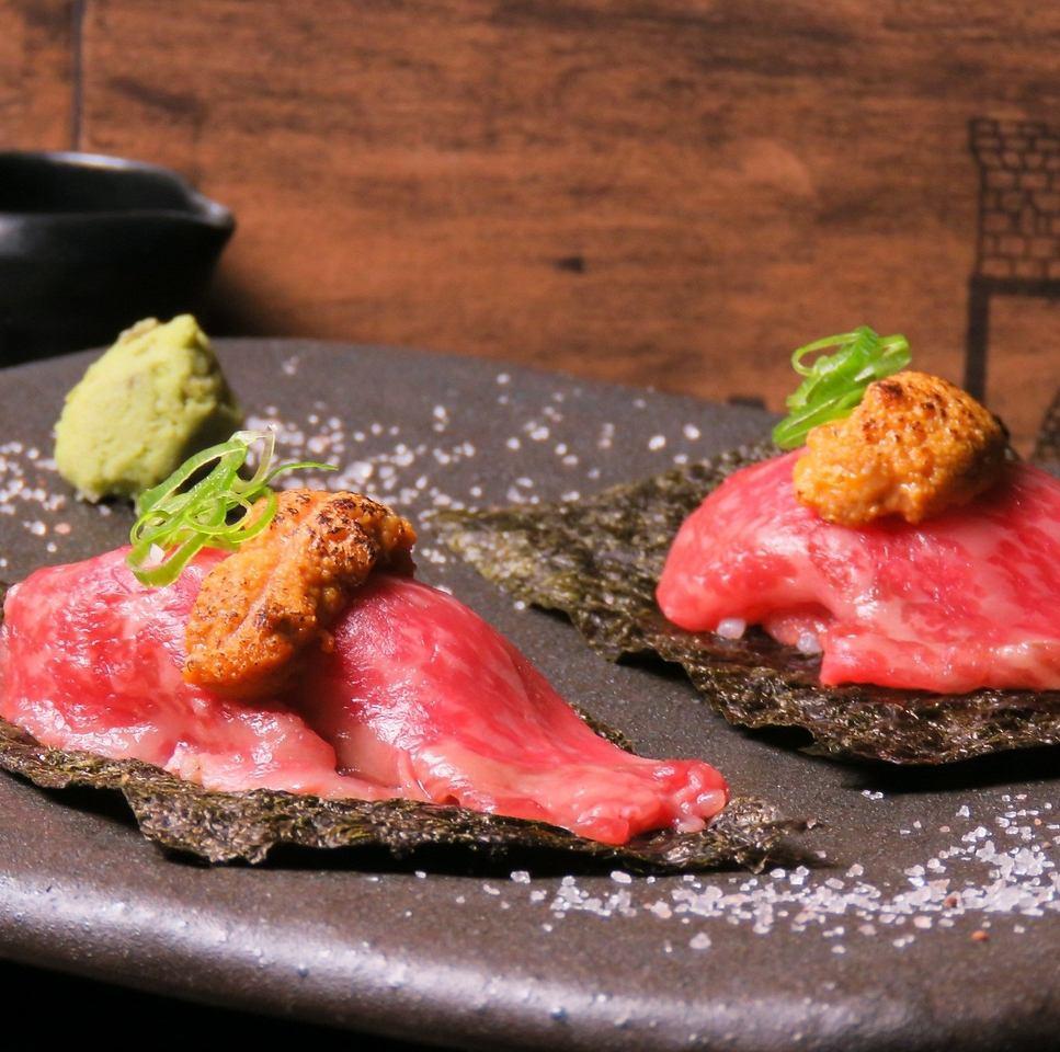 言わずとしれた『肉寿司』当店では肉寿司の概念を覆します!