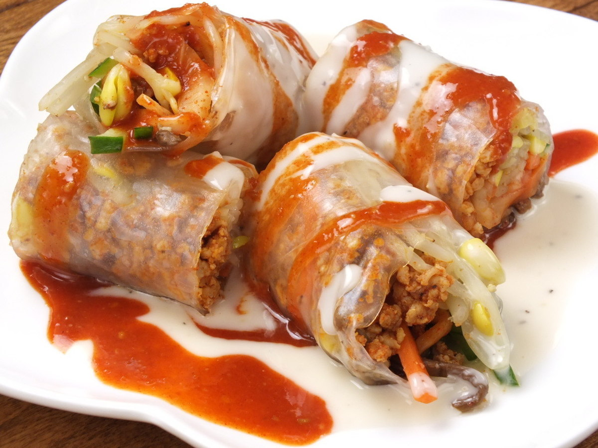 Assorted Namul / raw roll of Namulu spring roll