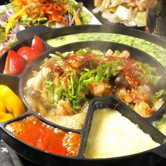 야채도 먹을 ♪ 숯불 구이 치즈 퐁듀 닭 갈비 ☆ 2500 엔 +500 엔으로 2H 음료 뷔페 포함 ♪ (세금 포함)