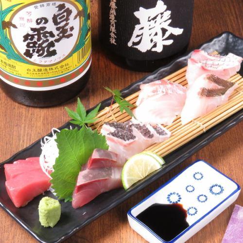 新鮮な魚料理と九州の地酒