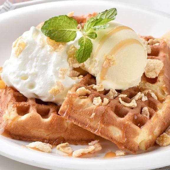 Warm waffle and vanilla ice