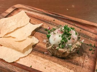 Poached eggs and lentils tartar