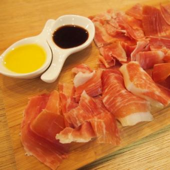 Spanish ham aged balsamic and EX virgin oil