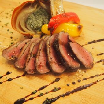Charcoal-grilled duck breast meat