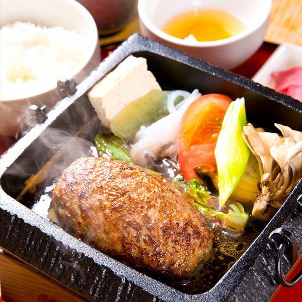 【名物】仙台牛100%とろけるハンバーグすき焼き(吟卵・お漬物・お椀付き)1880円→1680円