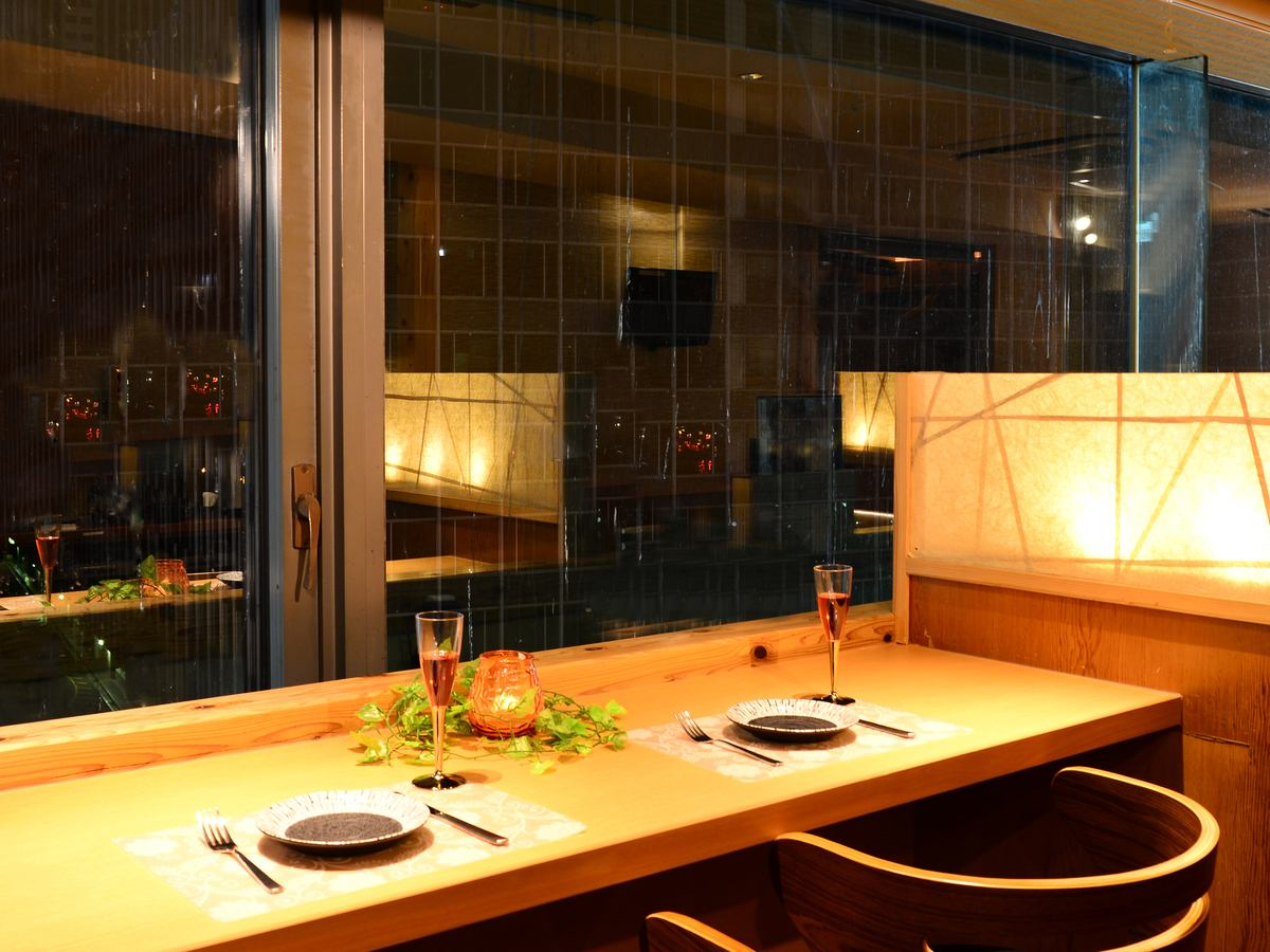 [Night view couple sheet] excellent atmosphere of a couple seat overlooking the Umeda dating and a little celebration ◎