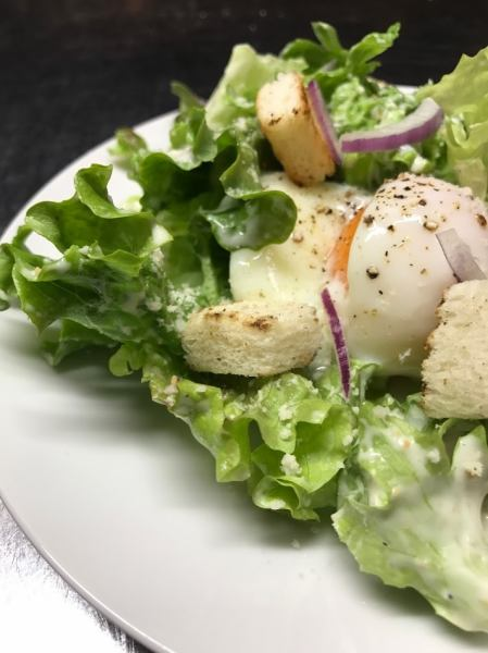 Homemade croutons Caesar salad · Warm bean sprouts