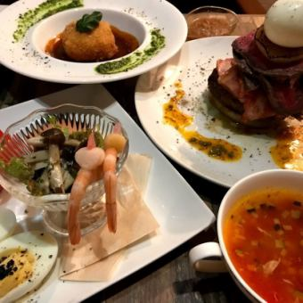 [Luxurious meat filling tower x 3 hours all you can drink] All 5 dishes including seafood