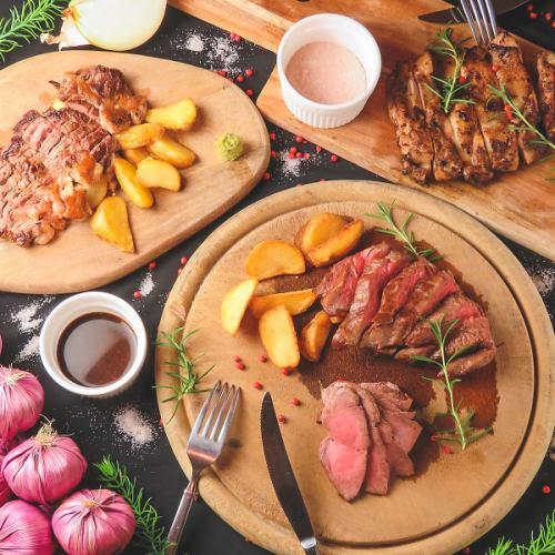 世界のお肉を贅沢に。ガッツリ肉食コース!メインのステーキが食放!飲放付3500円~