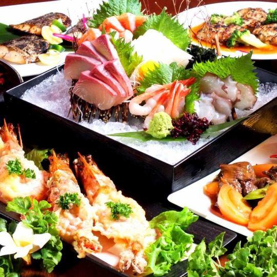 季節性食材x日本工匠。生魚片5壽司&烤牛肉【Burakura套餐】約100種120分鐘[飲用] 4500日元