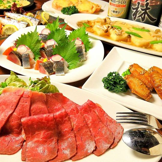 "Roast beef & seasonal sashimi 5 sorts with about 100 kinds 120 minutes ""All you can drink"" 9 items 4500 yen"