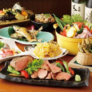 【季節魚菜和A5飛達蜜蜂低溫烤牛肉~Takumi~套餐(全10件)】120分鐘飲用附件5500日元♪