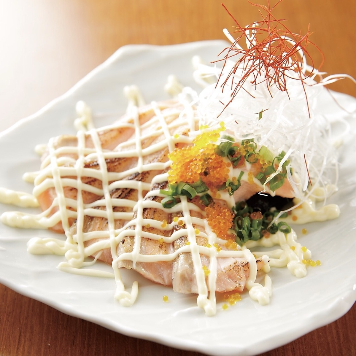 Grilled salmon with salmon soy sauce Mayo