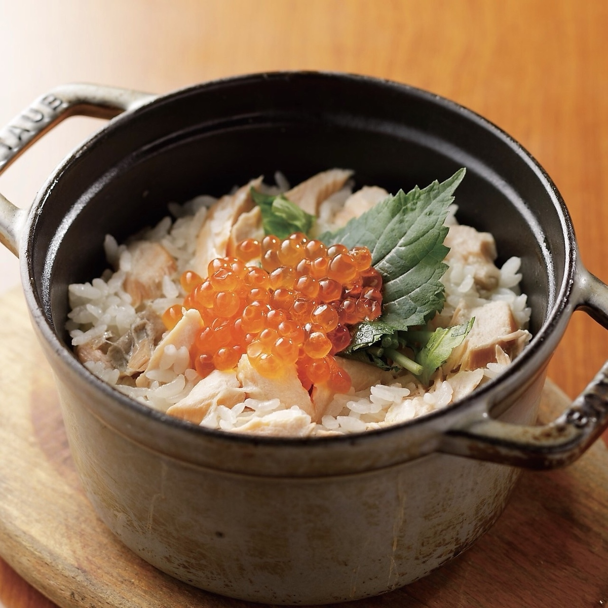 Rice cooked with salmon and salted rice
