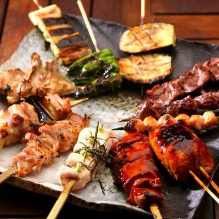 【烤雞肉糾結的課程】全友暢飲2小時30分鐘☆擁有15串烤肉和Bagna Cowder等4項3800日元