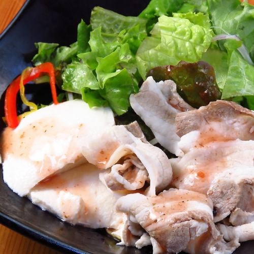 Boiled pork salad-handmade plum dressing-