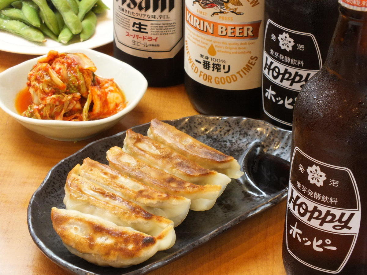 Draft beer dumplings set 500 yen