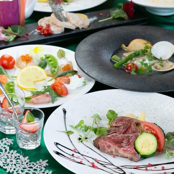 【1日10組限定】リブロースやエビのカダイフ巻など肉も魚も楽しむ≪Mistralコース≫