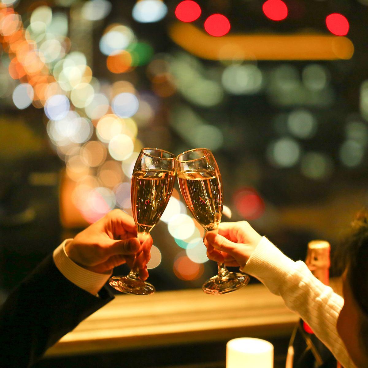 32階の美しい夜景に感動。雰囲気も抜群でデートにぴったり♪