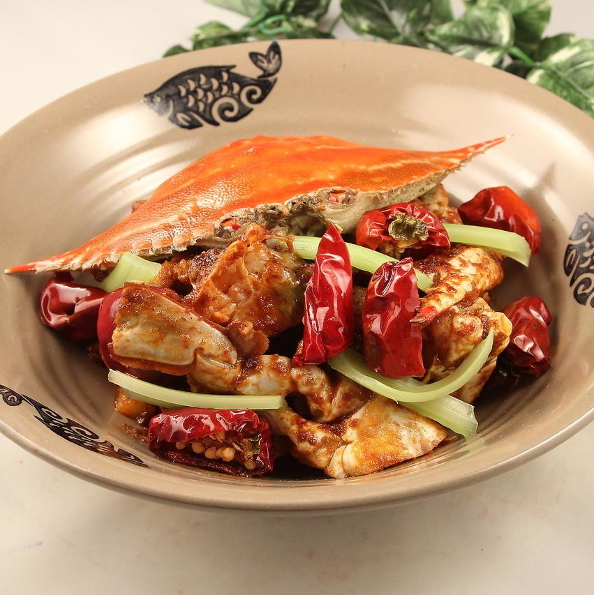 Stir-fried crab spicy