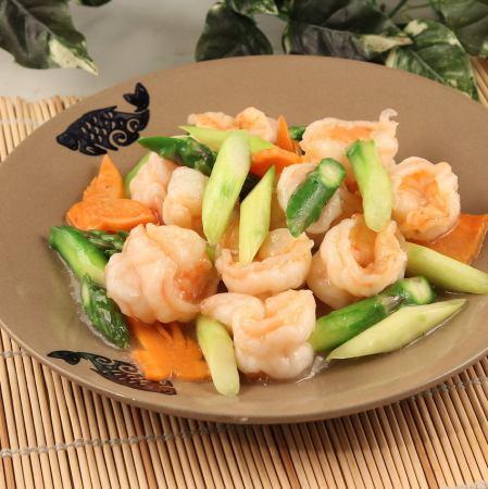 Shrimp and stir-fried asparagus / Ebi chili sauce