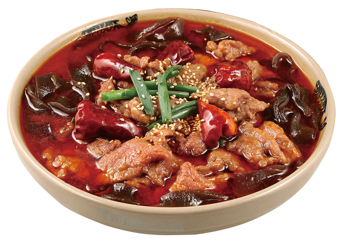 Straw-cooked beef with Japanese cotton mustard