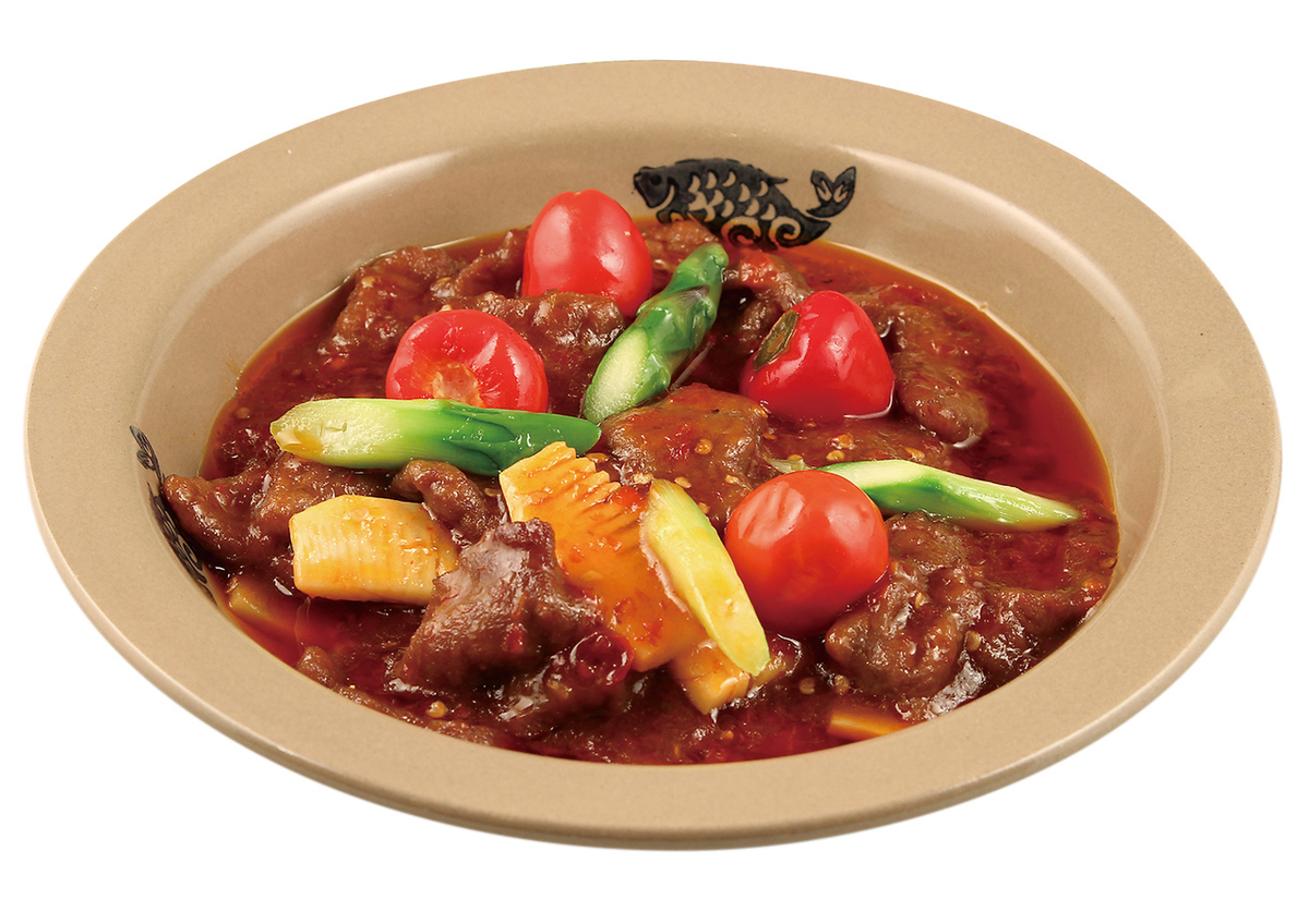 Fermentation of beef Stir fry blue pepper / hot pot with blood tofu