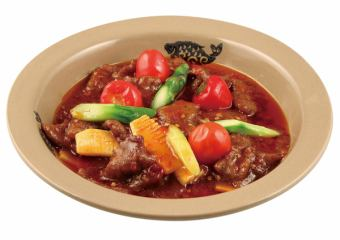 牛肉發酵用鮮血豆腐炒青椒/火鍋