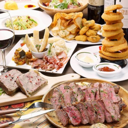 Enjoy the specialty Gabrie Steak ♪ All 8 items + 2 hours Drinking course 4000 ⇒ 3500 yen