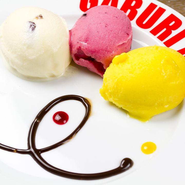 Three kinds of gelato