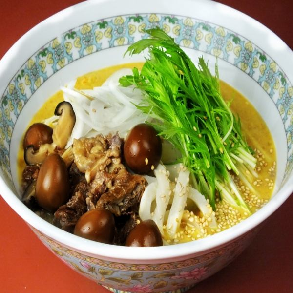 Warm udon & rice balls and cow stuffed toppings