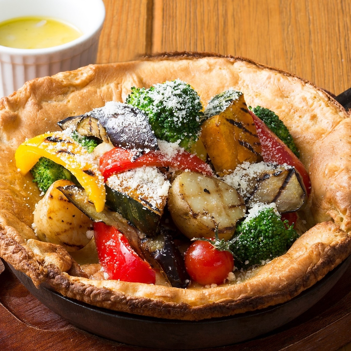 Plenty of Grilled vegetables Dutch Baby Bagna Cowder sauce