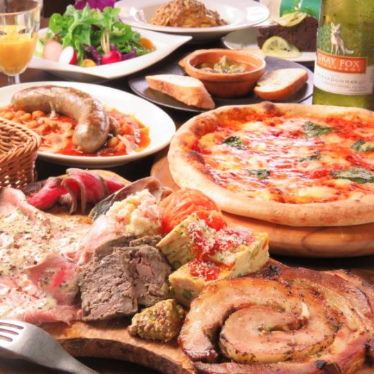 【Feel free!】 Recommended pizza × Recommended pasta etc. 6 items & 90 minutes with all you can drink 2980 yen (tax included)