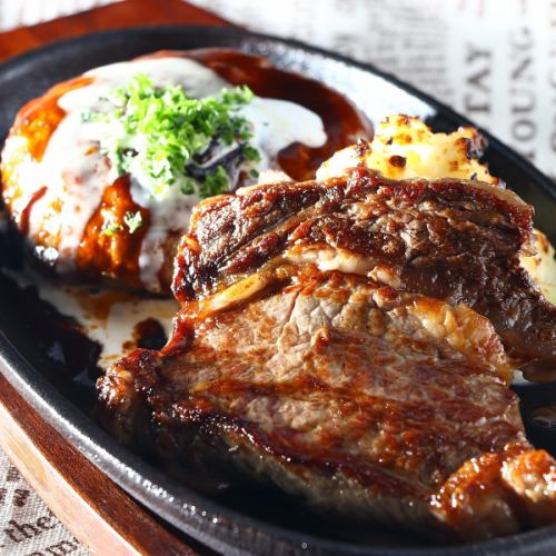 サーロインステーキセットデミグラスハンバーグセット(ご飯・味噌汁・漬物付)