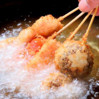 【Kushikatsu在我们家的精通课程】120分钟3道菜,7道晚餐,无限畅饮!