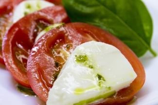 Caprese of mozzarella and tomato