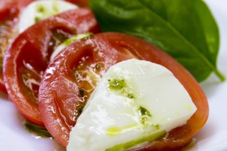 Caprese of mozzarella and tomato