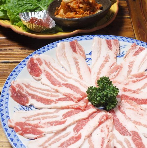 【Head office limited menu】 Matsu Gyoopsal (Matsu only wind Samgyeopsisaru) Santu · Kimchi · Garlic with slices