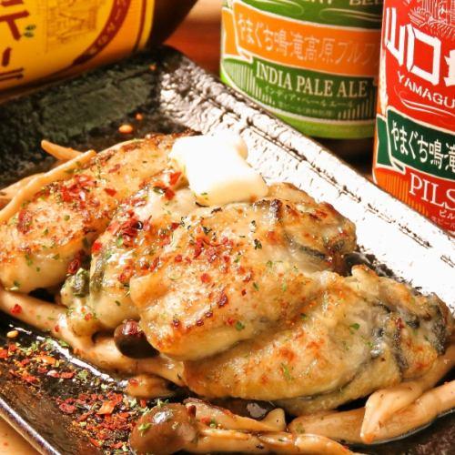 牡蠣とキノコのバター醤油焼き